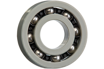 xiros® radial ball bearings, xirodur G220, stainless steel balls, cage made of PA, mm